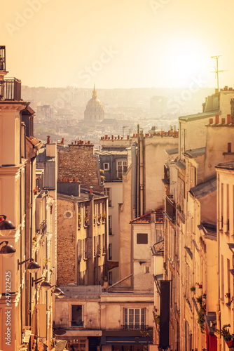 Fotobehang Centraal Europa Panorama of Paris, view from the hill of Montmartre, in Paris France