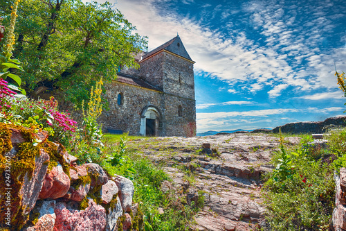 Keuken foto achterwand Historisch geb. Fortified Lutheran Church St. Michael on top of rock hill in Cisnadioara near Sibi