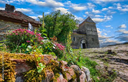 Foto op Plexiglas Historisch geb. Fortified Lutheran Church St. Michael on top of rock hill in Cisnadioara near Sibi