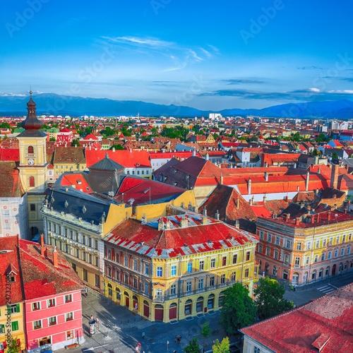 Staande foto Historisch geb. Holy Trinity Church and Council Tower in Sibiu city, view from the bell tower of St Mary Cathedral