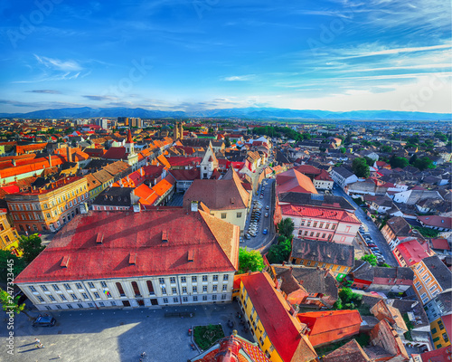 Staande foto Historisch geb. Old Town of Sibiu city seen from cathedral bell tower, view with Huat Square on foreground