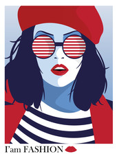 Panel Szklany Industrialny Fashion woman in style pop art. Vector illustration