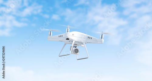 Blank white flying quadcopter mockup on sky background, 3d rendering Canvas Print