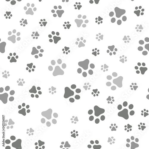obraz lub plakat Dog Paw seamless pattern vector footprint kitten puppy tile background repeat wallpaper cartoon isolated illustration white - Vector