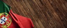 Portugal, Cloth Flag On Wood
