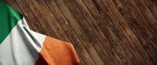 Ireland, Cloth Flag On Wood