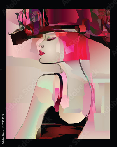 Deurstickers Art Studio Fashion woman model with a hat