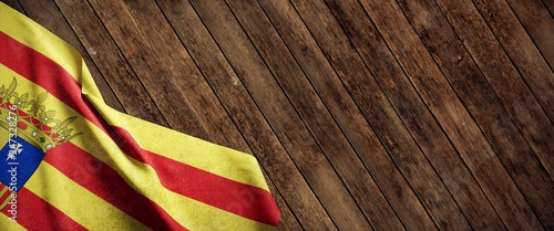 Fotomural Bandera de Aragón sobre fondo de madera