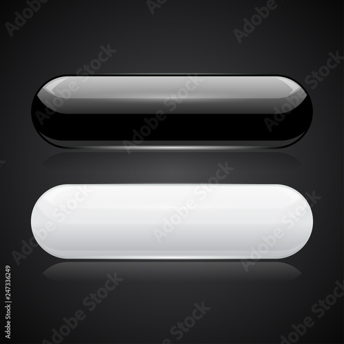 Fotografía  Black and white oval buttons. 3d glossy icons on black background