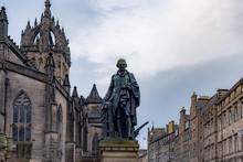 Adam Smith Statue And St Giles' Cathedral, Edinburgh, United Kingdom