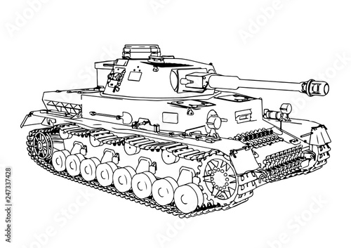 Photo  sketch of old military equipment tank vector