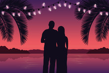 Couple In Love On Purple Paradise Palm Beach With Fairy Lights Vector Illustration EPS10