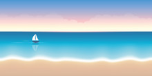 Lonely Sail Boat On A Calm Sea Summer Holiday Background Vector Illustration EPS10