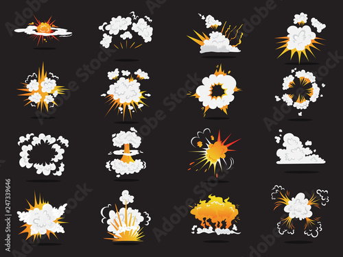 Set of explosive boom effect. Smoke from bomb Canvas-taulu