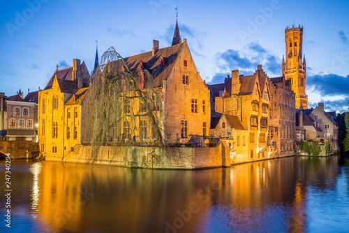 Deurstickers Brugge Bruges old town during evening. Bruges, Belgium