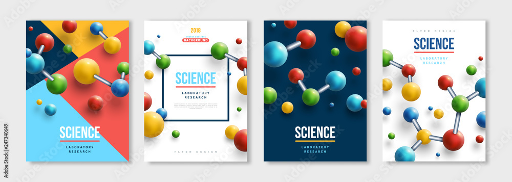 Fototapeta Banners set with colorful molecules
