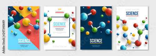Obraz Banners set with colorful molecules - fototapety do salonu