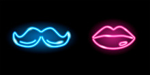 Neon Icons Of Lips And Moustac...