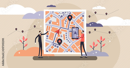 GPS navigation vector illustration. Tiny persons concept with map location.