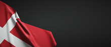 Denmark Flag Fabric On Plain D...
