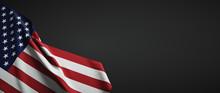 United States Of America Flag Fabric On Plain Dark Background
