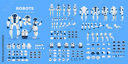 Robot character set for the animation with various views Wallpaper Mural