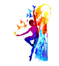 Ballet Dancer, Aerobics, Gymnastics . Colorful Vector Illustration