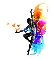 Ballet dancer, aerobics, gymnastics . Colorful vector illustration