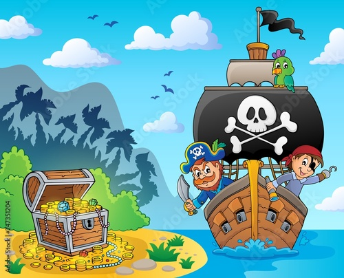 Door stickers For Kids Image with pirate vessel theme 6
