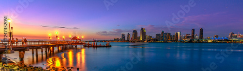Panorama of Coronado old pier reflecting on in San Diego Bay from Coronado Island, California, USA Fototapeta