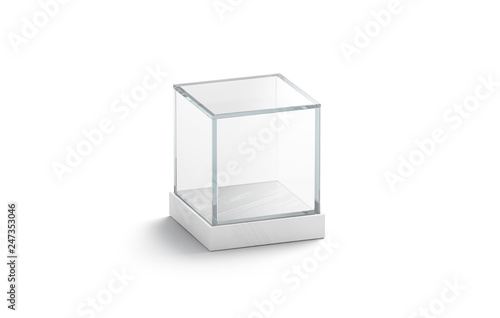Photo Blank white glass showcase cube mock up, isolated, 3d rendering