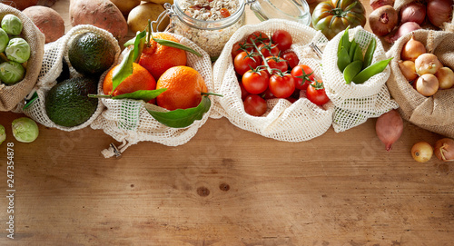 Assortment of fresh organic fruits and vegetables - 247354878