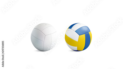 Photo  Blank white and colored volleyball ball mockup set, isolated, 3d rendering