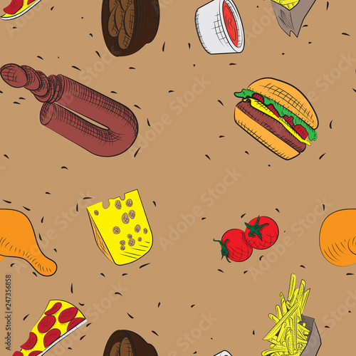 Staande foto Retro sign Vector hand drawn doodle food seamless patterns.