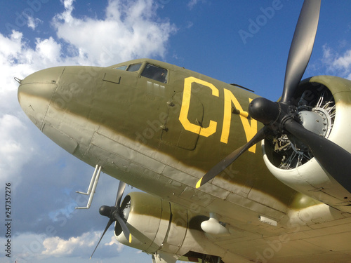 Photo  Various versions and parts of the Douglas C-47 Skytrain or Dakota is a military transport aircraft developed from the civilian Douglas DC-3 airliner