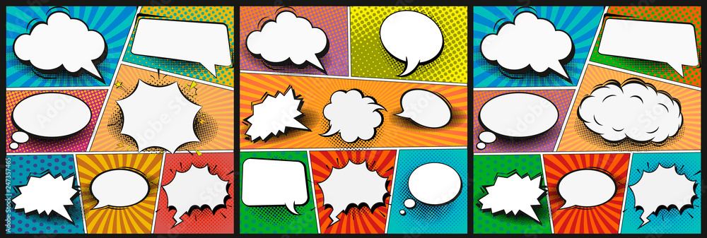 Fototapety, obrazy: Colorful comic book background.Blank white speech bubbles of different shapes. Rays, radial, halftone, dotted effects. Vector illustration in pop art style