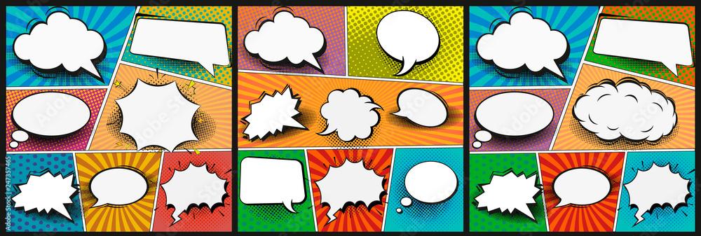Kolorowy komiksu tło. Puste białe bąbelki mowy o różnych kształtach. Promienie, promieniowe, półtonowe, kropkowane. Ilustracja wektorowa w stylu pop-art