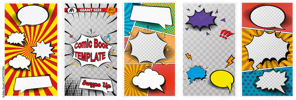 Fototapeta Comic book page colorful composition with halftone rays dotted radial effects. Vector illustration