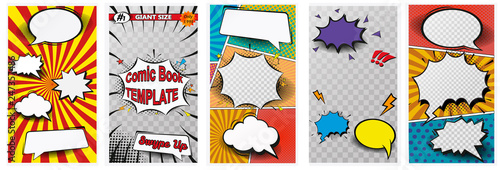 Fotografía  Comic book page colorful composition with halftone rays dotted radial effects