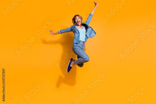 Fotografiet  Full length body size photo jumping flight high amazing beautiful she her lady h