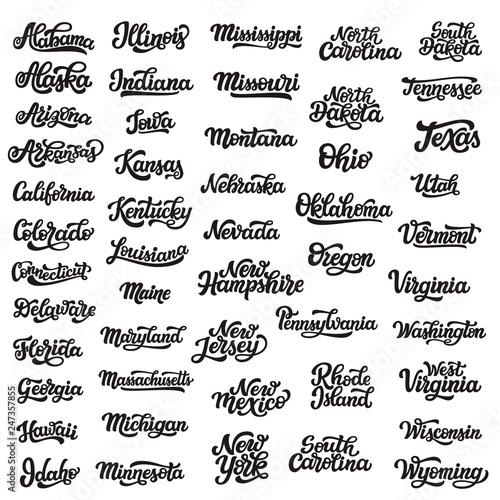 Fotografiet  Set of hand drawn USA state names