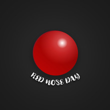 Red Nose Day On Isolated Black...