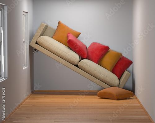 Obraz kleines Wohnzimmer mit zu großem Sofa - fototapety do salonu