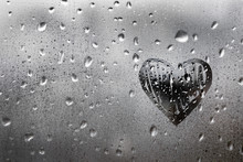 Heart Painted On Glass Is Fogg...