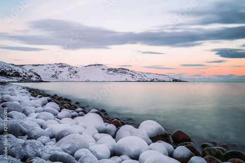 Barents sea at sunset in winter, Russia