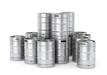 Metal Beer Kegs Stack Isolated On White Background. 3D Illustration