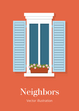 Window With Shutters And Plants In The Italian Style. The Facade Of The Building Outside. Details Of A European Home. Vector Flat Illustration