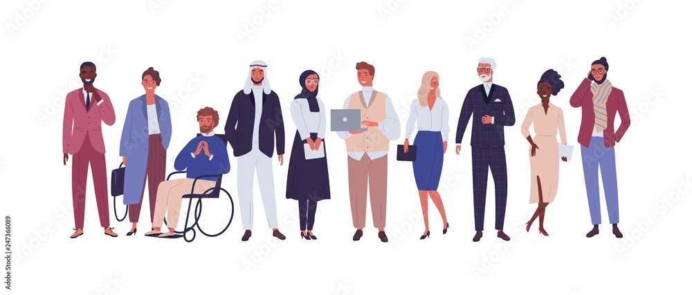 Fototapeta Diverse group of business people, entrepreneurs or office workers isolated on white background. Multinational company. Old and young men and women standing together. Flat cartoon vector illustration.
