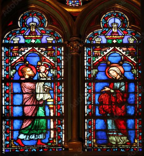 Stained glass window in La Sainte-Chapelle in Paris, France Fototapete