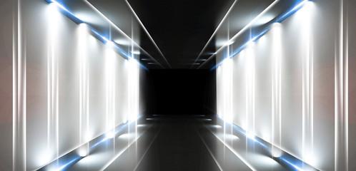 Tło jest pustym tunelem, pokój jest oświetlony światłem neonowym. Pokrycie betonowe, dachówka. Palić. Laserowa kwadratowa postać na środku pokoju. Renderowanie 3D